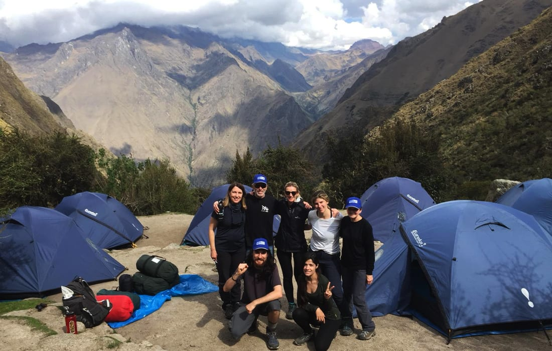 The team in front of Peru's Mountains
