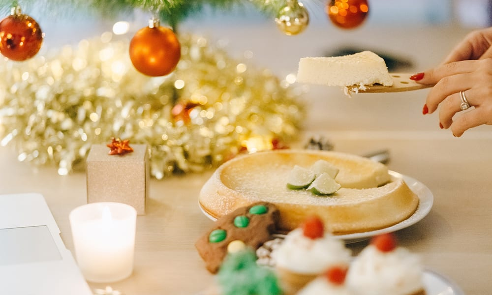 Christmas food and decorations