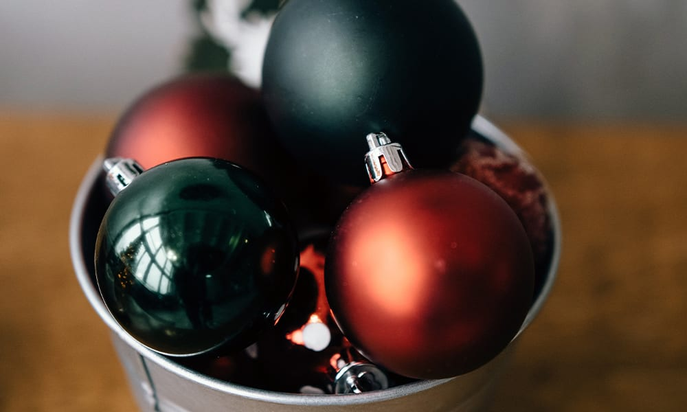Christmas baubles in a bucket