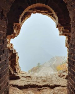View of the Great Wall through fog. Alexia on a Great Wall of China Challenge for MS Australia
